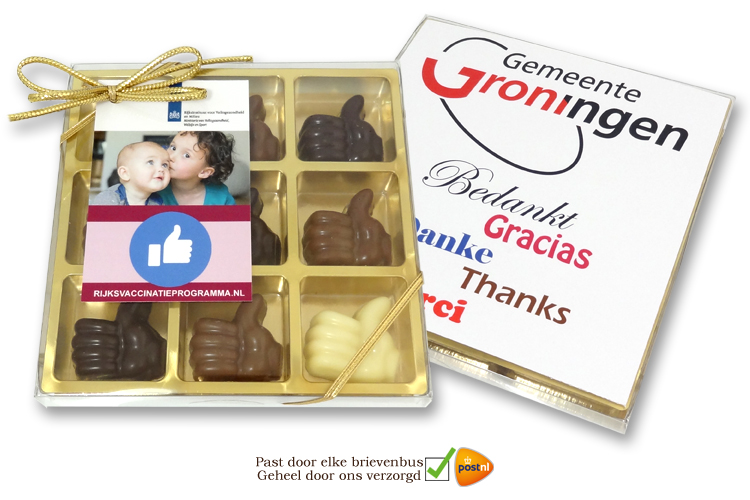 Geschenkdoosje met Chocolade Compliment Duimpjes!
