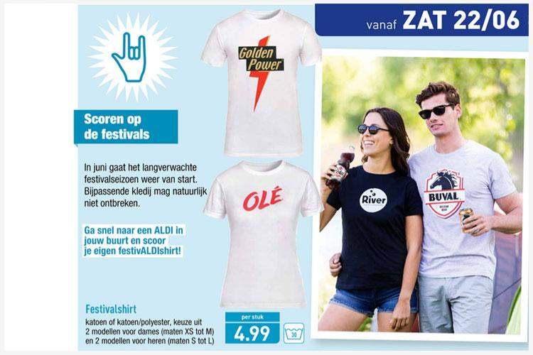 Festival-T-shirts met Aldi-merken