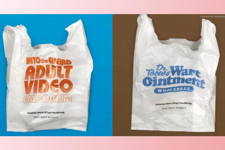 Canadese plastic tassen met genante teksten