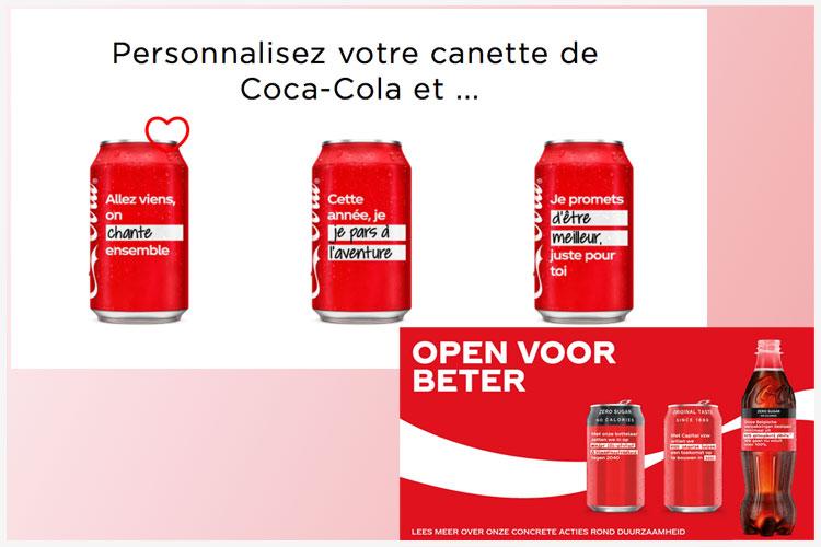 Coca-Cola des canettes assorties de bonnes résolutions